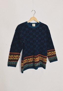 Vintage 90s Laura Ashley Blue Wool Funky Pattern Jumper