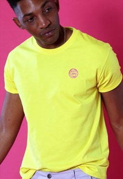 Tshirt in Yellow with Embroidered EAT ME pink heart