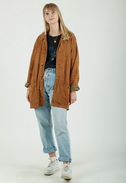 Bujrberry oversized tan suede jacket with nova check collar