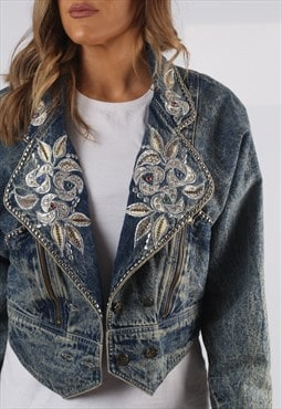Vintage Cropped Denim Jacket Embroidered UK 8 XS (AP1T)