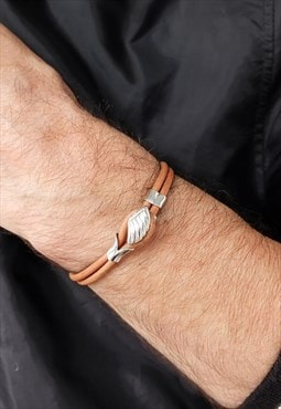 Brown Angle Wing Leather Bracelet Men Silver Bracelet