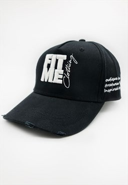 Black Slogan Distressed Cap