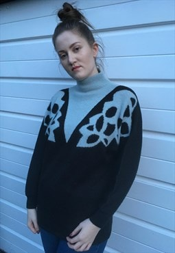 Womens Vintage 80s jumper blue black floral turtle neck top