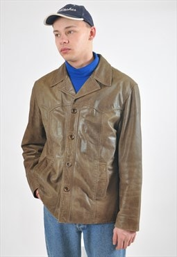 Vintage retro real leather jacket in khaki