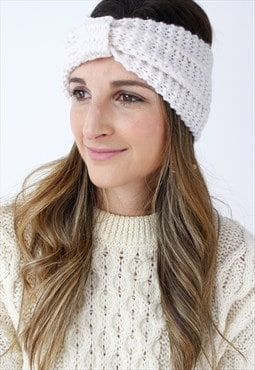 Cream Ribbed Knitted Turban Headband