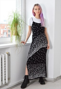 Y2K Black White Long Side Split Summer Dress