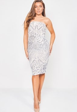 Chic silver nude strapless sequin illusion midi pencil dress