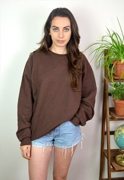90's Vintage Minimal Brown Oversized Sweatshirt