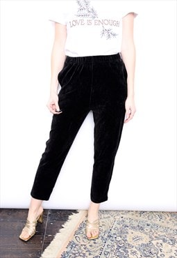 Vintage 90s Black Velvet Velour High Waisted Trousers