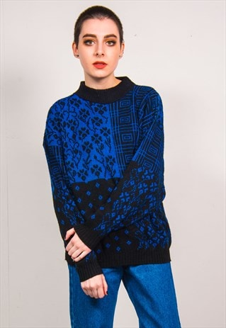 VINTAGE 90'S BLUE MULTI PATTERN KNIT LONG SLEEVE JUMPER