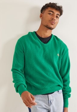 Vintage Lacoste V-Neck Knitted Jumper Green
