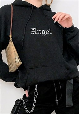 Y2k oversized black ANGEL gothic diamante hoodie