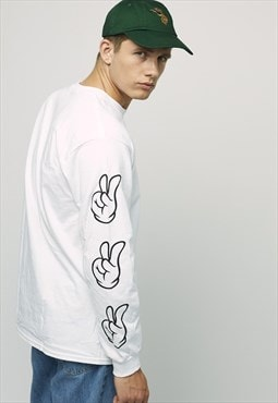 Sleeve Gesture White Long Sleeve Tee