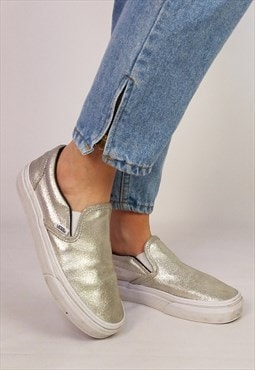 Vintage Y2K VANS Silver Glitter Unisex Slip-on Shoes EU 37.5