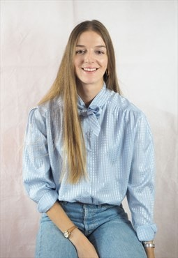 Vintage Light Blue Pussy Bow Blouse