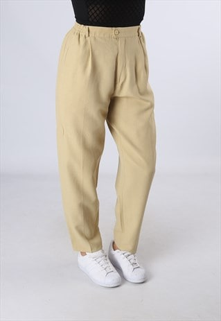 HIGH WAISTED TROUSERS PLAIN WIDE TAPERED LEG  UK 10 (DK5A)