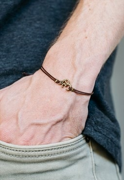 Bronze Om bracelet for men brown string adjustable knot yoga