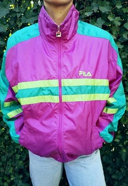 Vinatege 80s Fila  Shellsuit TrackSuit Top Zip Up Jacket M