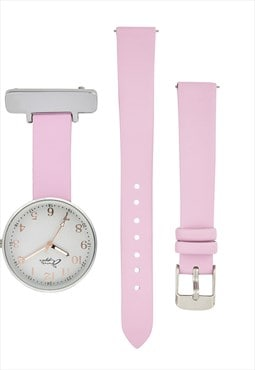 Annie Apple Interchangeable Pink Leather Fob to wrist watch