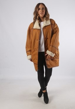 Vintage Sheepskin Leather Shearling Coat Mid UK L 14  (K93N)