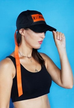 Unisex black cap with orange logo patch