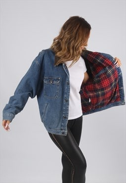 Vintage Denim Jacket Oversized Fitted Tartan UK 16 (9AX)