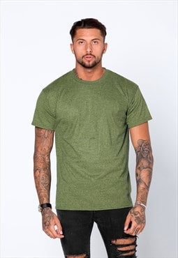 Staple Blank Plain T-Shirt - Heather Khaki Green