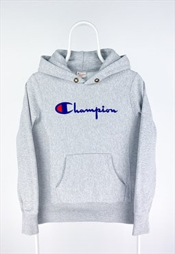 Champion Classic Reverse Weave Spell-Out Hoodie in Grey.