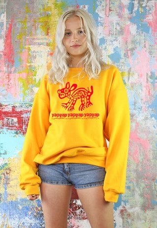 SWEATSHIRT IN SUNSHINE GOLD WITH YAPYAP MEXICAN DOG