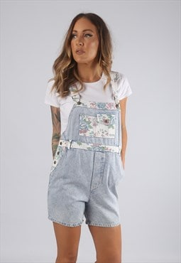 Vintage Denim Dungaree Shorts Floral PETITE UK 10  (LG2A)
