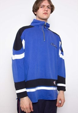 Vintage 90s Champion Blue Polo Sweatshirt ID:3408