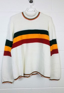 Vintage Knitted Jumper White with Striped Pattern