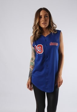 Vintage Baseball Jersey Vest Top Long Sport UK 12 (JEDF)