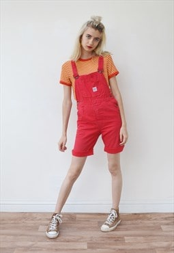 Vintage dungarees denim overalls red romber adjustable