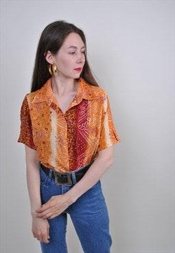 80s floral print orange short sleeve blouse, Size S