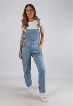 Vintage Denim Dungarees Wide Straight Leg UK 8 - 10 (JRBU)