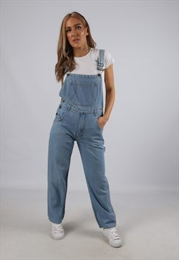Vintage Denim Dungarees Wide Leg UK 8 XS (B1D)