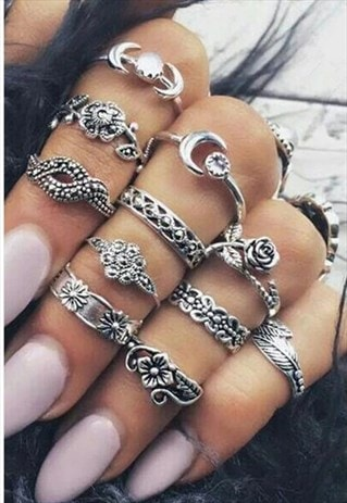 SILVER SET OF 11 RINGS