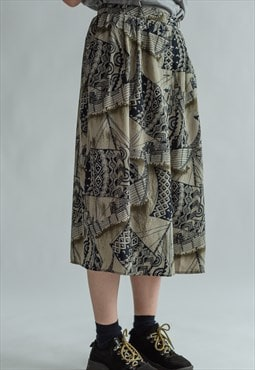 Vintage 70s patterned midi skirt