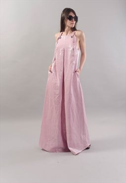XXL Dress Linen Loose Kaftan Maxi Tunic Pink Dress F1802