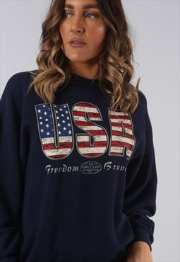 Sweatshirt Jumper Oversized USA Print Logo UK 14 (HW5M)