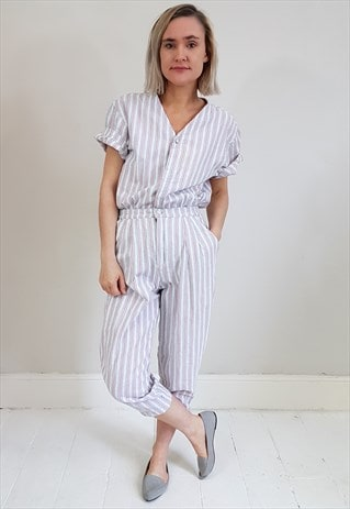 VINTAGE 90'S WHITE, RED AND BLUE STRIPED JUMPSUIT