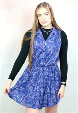 1990s vintage blue paisley button up mini dress