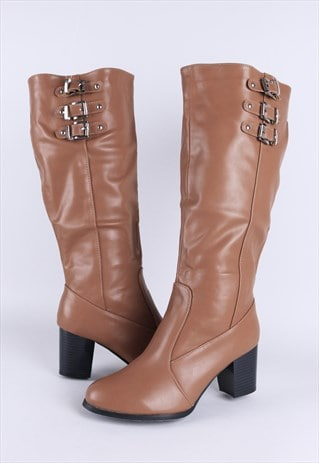 TAN BLACK HEEL KNEE HIGH BOOTS WITH BUCKLES
