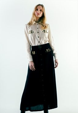 A-Line Wool Button Up Maxi Skirt With Pockets Black