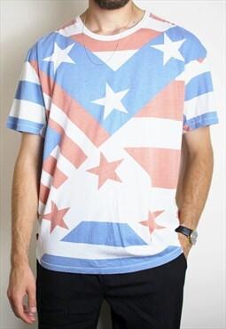 Vintage Levis Stars & Stripes T-Shirt Mens XL USA Red White