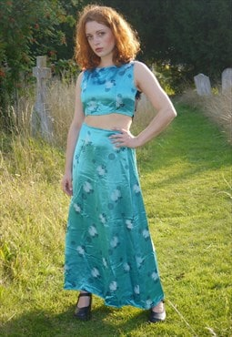 Vintage 90s aqua blue cheongsam skirt and top set