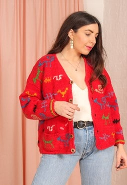 Vintage 80s Cardigan in Red Abstract Print