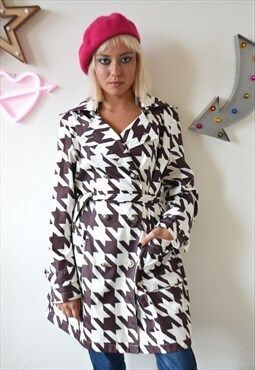Vintage 90's Houndstooth Print Trench Coat