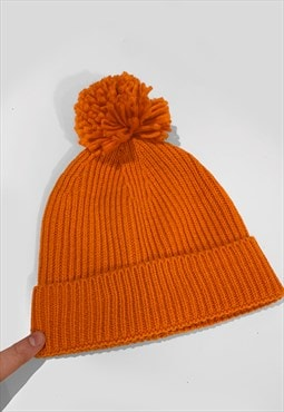 Ski Bobble Knitted Ribbed Beanie Hat - Orange